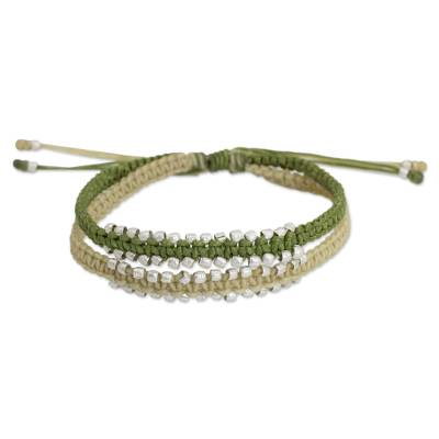 Artisan Crafted Braided Bracelet with Silver Plated Beads
