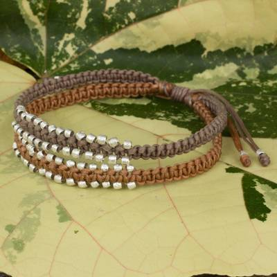Braided wristband bracelet, 'Khaki Brown Urban Siam' - Artisan Crafted Braided Bracelet with Silver Plated Beads