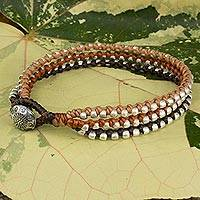 Braided wristband bracelet, 'Brown Siam Melody' - 3-in-1 Bracelet with Silver Plated Beads Hill Tribe Jewelry