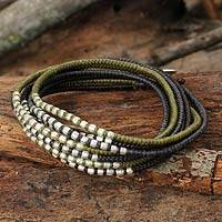 Braided wrap bracelet, 'Karen Khaki Chic' - Brown Khaki Grey Wrap Bracelet with Silver Accents