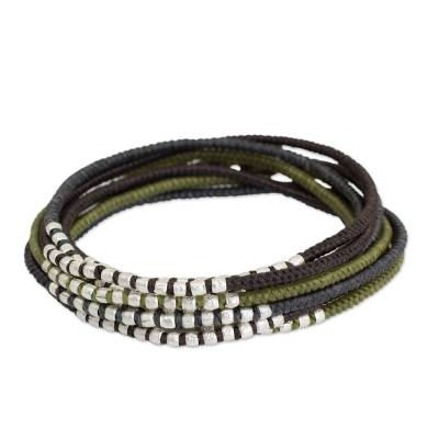 Brown Khaki Grey Wrap Bracelet with Silver Accents