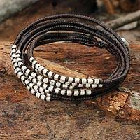 Braided wrap bracelet, 'Karen Brown Chic' - Silver Accents Wrap Bracelet Hand Knotted Jewelry