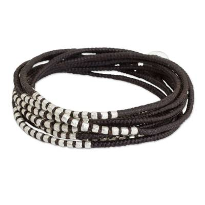 Silver Accents Wrap Bracelet Hand Knotted Jewelry