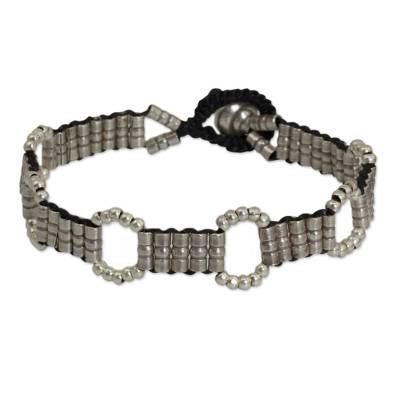 Hand Knotted Macrame Bracelet with Hill Tribe Silver