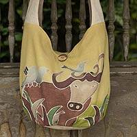 Cotton batik sling bag, 'Siamese Buffalo' - Yellow Cotton Sling Handbag from Thailand