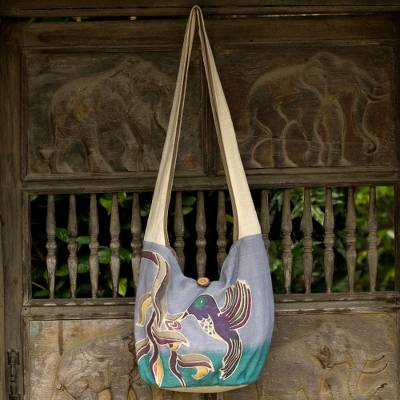 Cotton batik sling bag, 'Thai Hummingbird' - Purple Cotton Sling Handbag from Thailand