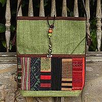 Cotton and leather accent shoulder bag, 'Jade Rhythm' - Hill Tribe Embroidery on Cotton Shoulder Bag with Leather