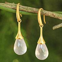 Gold plated chalcedony dangle earrings, 'Delicate Drops' - Artisan Crafted Gold Plated Pink Chalcedony Earrings