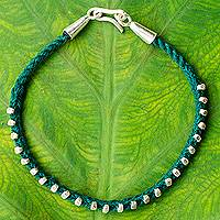 Silver braided bracelet, 'Green Karen Flowers' - Braided Bracelet with Hill Tribe Silver