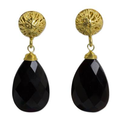 Artisan Jewelry Agate and Gold Vermeil Handcrafted Earrings