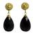 Gold vermeil and agate dangle earrings, 'Black Serenade' - Artisan Jewelry Agate and Gold Vermeil Handcrafted Earrings (image 2a) thumbail