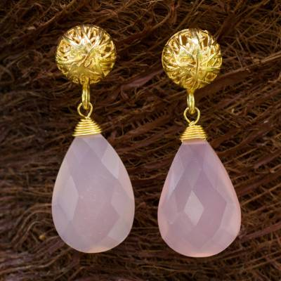 Gold vermeil dangle earrings, 'Pink Serenade' - Artisan Jewelry Gold Vermeil and Chalecedony Earrings