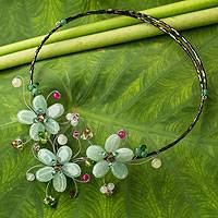 Multi-gem flower necklace, 'Green Sonata' - Floral Wrap Necklace Artisan Crafted Beaded Jewelry
