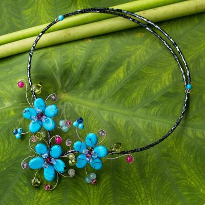 Multi-gem flower necklace, 'Turquoise Sonata' - Floral Wrap Necklace Artisan Crafted Beaded Jewelry