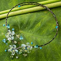 Multi-gemstone flower necklace, 'Blue Sonata'