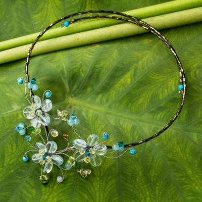 Multi-gemstone flower necklace, 'Blue Sonata' - Floral Wrap Necklace Artisan Crafted Beaded Jewelry