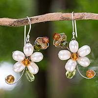 Pearl and peridot flower earrings, 'Frangipani Glam' - Pearls and Gems Earrings Artisan Crafted Thai Jewelry