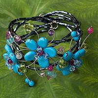 Multi-gem flower cuff bracelet, 'Turquoise Sonata' - Floral Cuff Bracelet Artisan Crafted Beaded Jewelry
