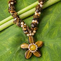 Cultured pearl and tiger's eye flower necklace, 'Flourishing Star' - Pearls and Tiger's Eye Necklace Thai Floral Jewelry