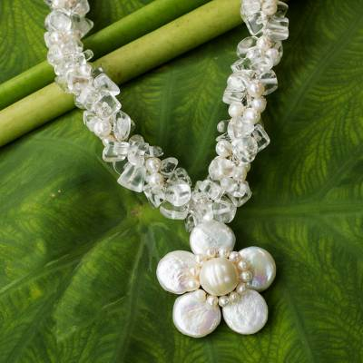 Cultured pearl flower necklace, Flourishing Frangipani