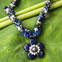 Cultured pearl and lapis lazuli flower necklace,