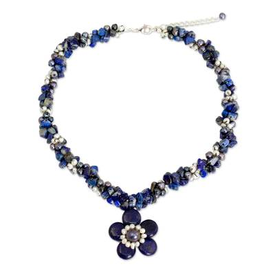 Pearls and Lapis Lazuli Necklace Thai Floral Jewelry