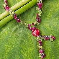 Peridot heart necklace, 'Tropical Heartbeat' - Peridot and Dyed Quartz Beaded Necklace from Thailand