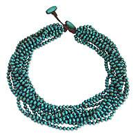Wood torsade necklace, 'Mekong Belle' - Blue Torsade Necklace Wood Beaded Jewelry