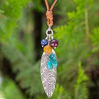 Silver and kyanite pendant necklace, 'Natural Inspiration' - Fair Trade Necklace with Hill Tribe Silver and Gemstones