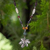 Quartz and garnet pendant necklace, 'Precious Ivy' - Gemstone Pendant Necklace with Silver Leaf