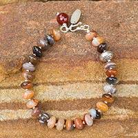 Agate and quartz beaded bracelet, 'Luxurious' - Agate Quartz Garnet Chalcedony Beaded Hill Tribe Bracelet