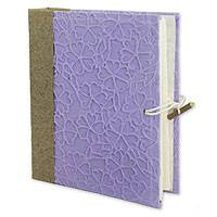 Saa paper photo album, 'Purple Sakura' - Handmade Photo Album with Natural Paper for 64 photos (4x6)