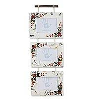 Saa paper wall photo frames, 'Snow Roses' (5x7, set of 3) - 3 Photo Frames Handmade Paper and Natural Petals (5x7)