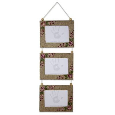 Saa paper wall photo frames, 'Mountain Roses' (5x7, set of 3) - Photo Frames Handmade with Saa Paper and Natural Rose Petals