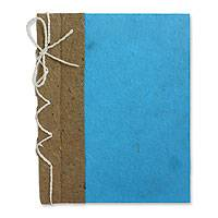 Saa paper journal, 'Turquoise Reflections' - Hand Crafted Journal with Saa Paper from Thailand (25 pages)