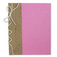 Saa paper journal, 'Pink Reflections' - Hand Crafted Journal with Saa Paper from Thailand (25 pages)