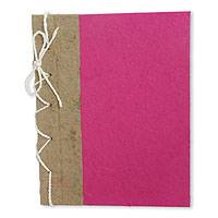 Saa paper journal, 'Fuchsia Reflections' - Hand Crafted Journal with Saa Paper from Thailand (25 pages)