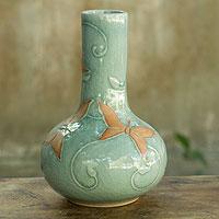 Celadon vase, 'Sky Blue Butterflies'
