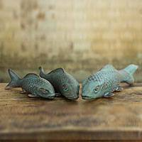 Ceramic figurines, 'Prosperous Turquoise Koi' (set of 3) - Ceramic Fish Sculptures with Glazed Accents from Thailand