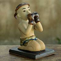 Ceramic figurine, 'Muay Thai Greeting I' - Terracotta Figurine with Glazed Details from Thailand