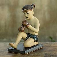 Ceramic figurine, 'Muay Thai Greeting II' - Terracotta Figurine with Glazed Details from Thailand
