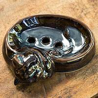 Ceramic soap dish, 'Indigo Brown Napping Kitty' - Ceramic Cat oap Dish Artisan Crafted in Thailand
