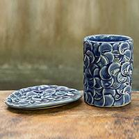 Celadon ceramic soap dish and tumbler, 'Blue Frangipani' (set ) - Blue Frangipani Celadon Ceramic Glass and Soap Dish