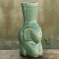 Celadon ceramic vase 'Sleepy Light Green Elephant' - Light Green Elephant Celadon Ceramic Vase