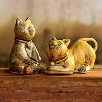 Ceramic statuettes, 'Yellow Feline Sisters' (pair) - Handcrafted Ceramic Cat Statuettes from Thailand (pair)