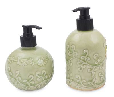 Green Celadon Ceramic Liquid Soap Dispensers (Pair)