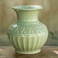 Celadon ceramic vase, 'Sawankhalok Legend' - Celadon Ceramic Vase in Light Green from Thailand