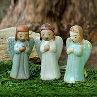 Celadon ceramic ornaments, 'Christmas Angel' (set of 3)
