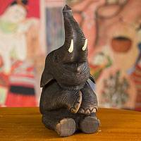Teakwood sculpture, 'Sitting Elephant' - Rustic Hand Carved Teakwood Sitting Elephant Sculpture