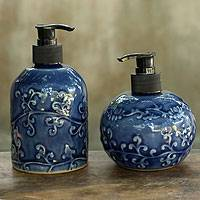 Celadon ceramic soap dispensers, 'Sapphire Floral' (pair) - Blue Celadon Ceramic Liquid Soap Dispensers (Pair)